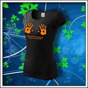 Dlane - dámske tričko s oranžovou neónovou potlačou