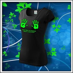 Dlane - dámske tričko so zelenou neónovou potlačou