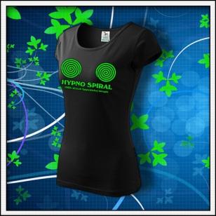 Hypno Spiral - dámske tričko so zelenou neónovou potlačou