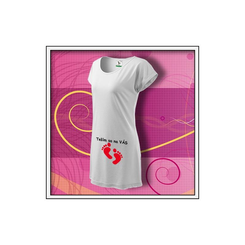 Teším sa na VÁS - biele tričko / šaty