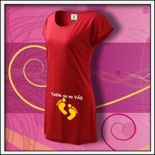 Teším sa na VÁS - červené tričko / šaty