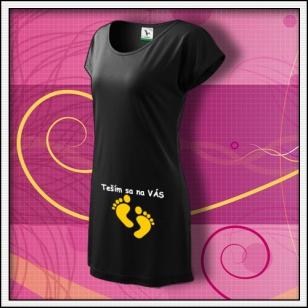 Teším sa na VÁS - čierne tričko / šaty