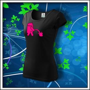 Android vs. Apple - dámske tričko s ružovou neónovou potlačou