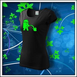 Android vs. Apple - dámske tričko so zelenou neónovou potlačou