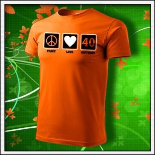 Peace, Love, Birthday - oranžové