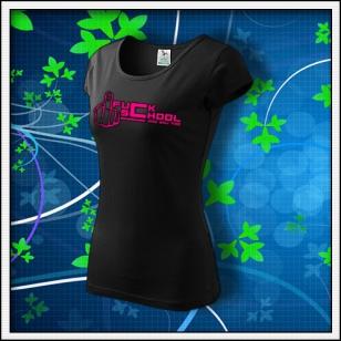 F*ck School - dámske tričko s ružovou neónovou potlačou