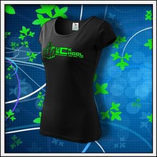 F*ck School - dámske tričko so zelenou neónovou potlačou