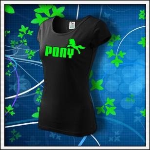 Pony - dámske tričko so zelenou neónovou potlačou