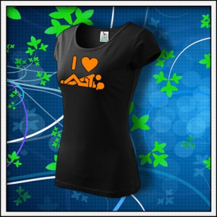 I Love Sex - dámske tričko s oranžovou neónovou potlačou