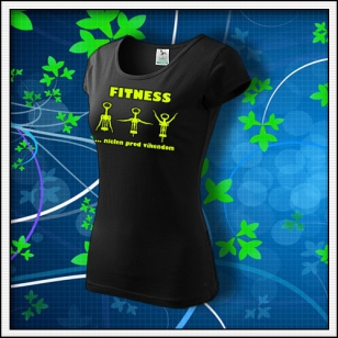 Fitness - dámske tričko so žltou neónovou potlačou