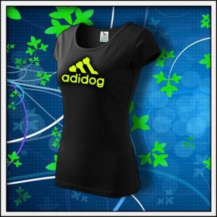 Adidog - dámske tričko so žltou neónovou potlačou
