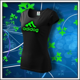 Adidog - dámske tričko so zelenou neónovou potlačou