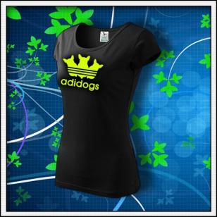 Adidogs - dámske tričko so žltou neónovou potlačou