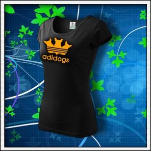 Adidogs - dámske tričko s oranžovou neónovou potlačou