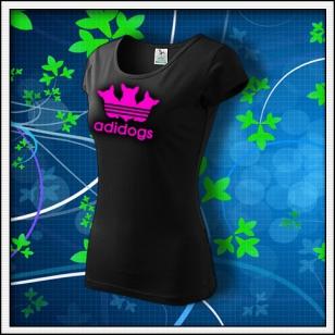 Adidogs - dámske tričko s ružovou neónovou potlačou