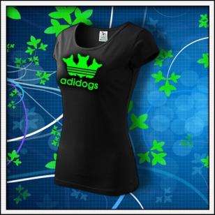 Adidogs - dámske tričko so zelenou neónovou potlačou