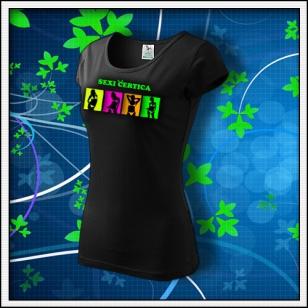 Sexi čertica - dámske tričko so zeleným neónovým nápisom