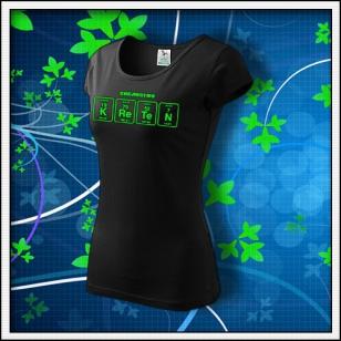 KRETEN - dámske tričko so zelenou neónovou potlačou