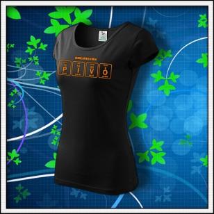 PIVO - dámske tričko s oranžovou neónovou potlačou