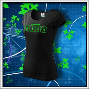 PIVO - dámske tričko so zelenou neónovou potlačou