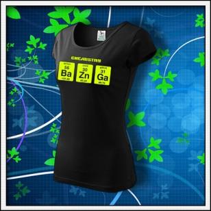 BAZINGA - dámske tričko so žltou neónovou potlačou