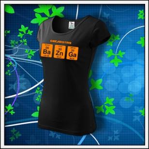 BAZINGA - dámske tričko s oranžovou neónovou potlačou