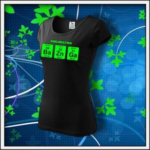 BAZINGA - dámske tričko so zelenou neónovou potlačou