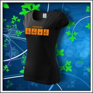 TEACHER - dámske tričko s oranžovou neónovou potlačou