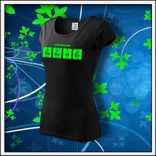 TEACHER - dámske tričko so zelenou neónovou potlačou