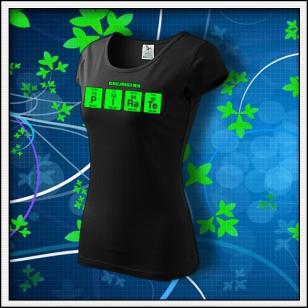 PIRATE - dámske tričko so zelenou neónovou potlačou