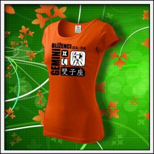 Znamenie Blíženci - dámske oranžové