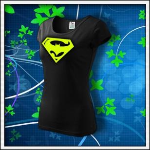 Super Batman - dámske tričko so žltou neónovou potlačou