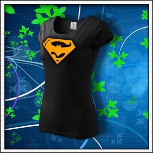 Super Batman - dámske tričko s oranžovou neónovou potlačou