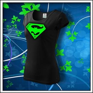 Super Batman - dámske tričko so zelenou neónovou potlačou