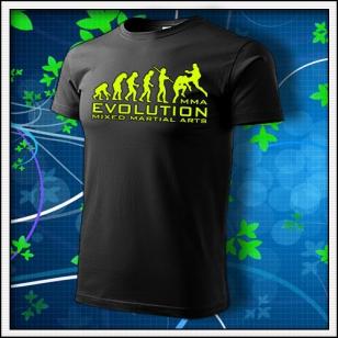Evolution MMA - unisex tričko so žltou neónovou potlačou