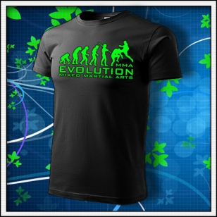 Evolution MMA - unisex tričko so zelenou neónovou potlačou