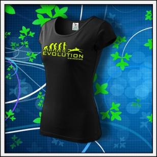 Evolution Swimming - dámske tričko so žltou neónovou potlačou