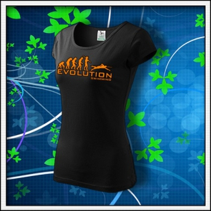 Evolution Swimming - dámske tričko s oranžovou neónovou potlačou
