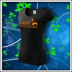 Evolution Le Parkour - dámske tričko s oranžovou neónovou potlačou