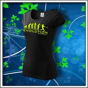 Evolution Baseball - dámske tričko so žltou neónovou potlačou