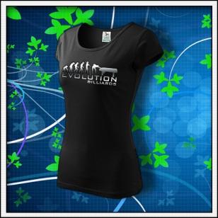 Evolution Billiards - dámske tričko reflexná potlač