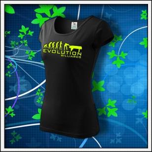Evolution Billiards - dámske tričko so žltou neónovou potlačou
