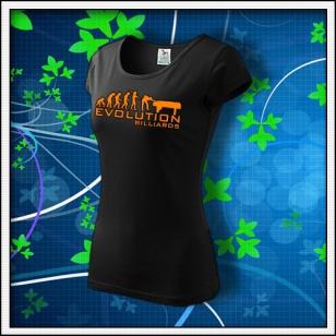 Evolution Billiards - dámske tričko s oranžovou neónovou potlačou