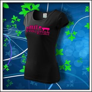 Evolution Billiards - dámske tričko s ružovou neónovou potlačou