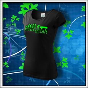 Evolution Billiards - dámske tričko so zelenou neónovou potlačou