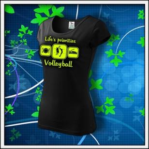 Life´s priorities - Volleyball - dámske tričko so žltou neónovou potlačou