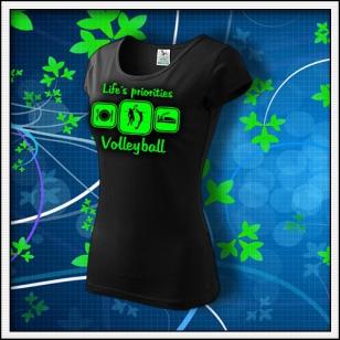 Life´s priorities - Volleyball - dámske tričko so zelenou neónovou potlačou