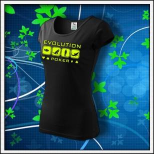 Evolution Poker - dámske tričko so žltou neónovou potlačou
