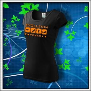 Evolution Poker - dámske tričko s oranžovou neónovou potlačou