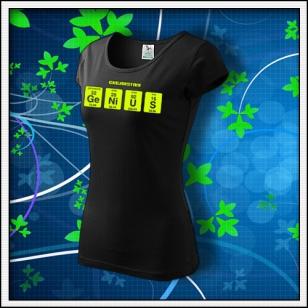 GENIUS - dámske tričko so žltou neónovou potlačou